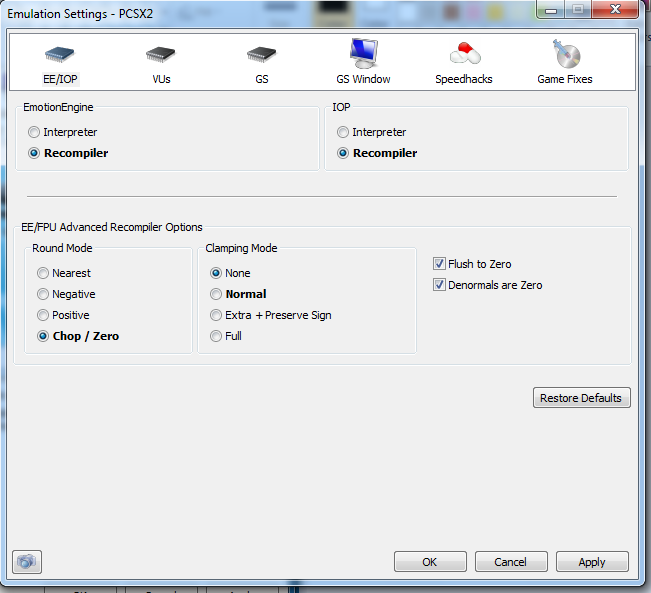 Emulation Setting (VUs)