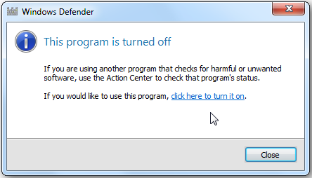 remove windows defender notification